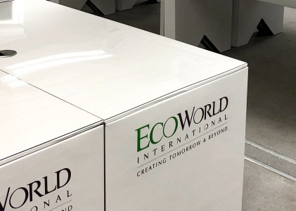 Cardboard desks for EcoWorld with Elliott®