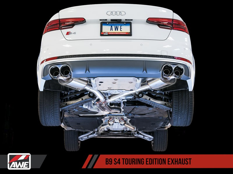awe touring edition exhaust for audi b9 s4 chrome silver 90mm tips
