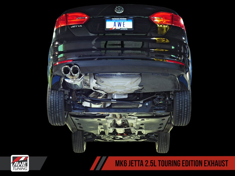 awe touring edition exhaust for mk6 jetta 2 5l polished silver tips