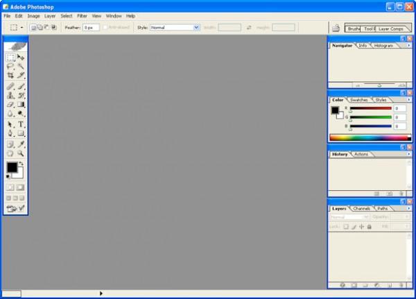 2003 - Adobe Photoshop versão CS - área de trabalho