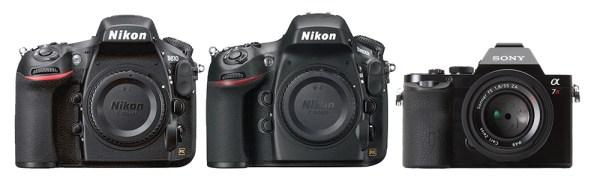 Câmeras com os melhores sensores do mercado: Nikon D810, Nikon D800E e Sony A7R, segundo a DxO Mark (ago/2014).