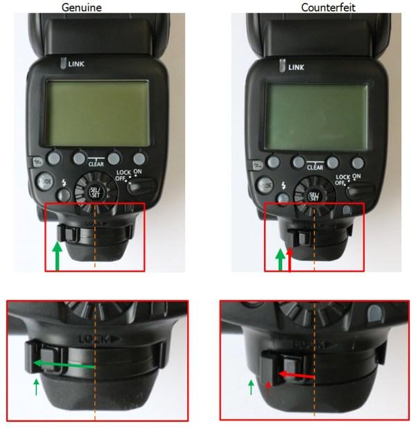 Speedlite 600 EX RT. Esquerda original e direita falsificado.