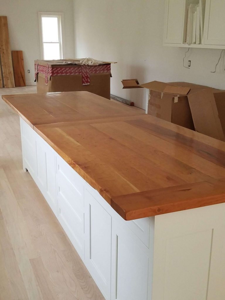 Live edge slab of cherry for a kitchen island
