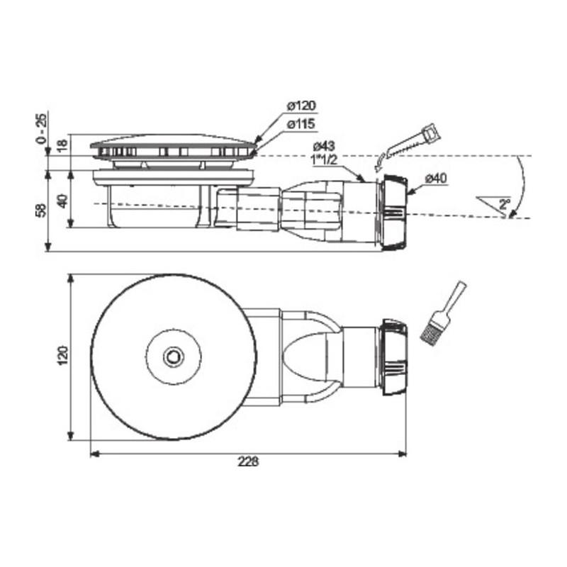 bonde de douche horizontale pour receveur diametre 90 mm extra plate wirquin pro