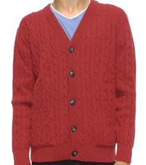 Homme Cardigan tricotée avec tresses