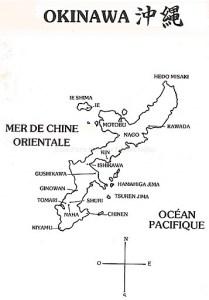Carte de l'île d'Okinawa, berceau du Karaté