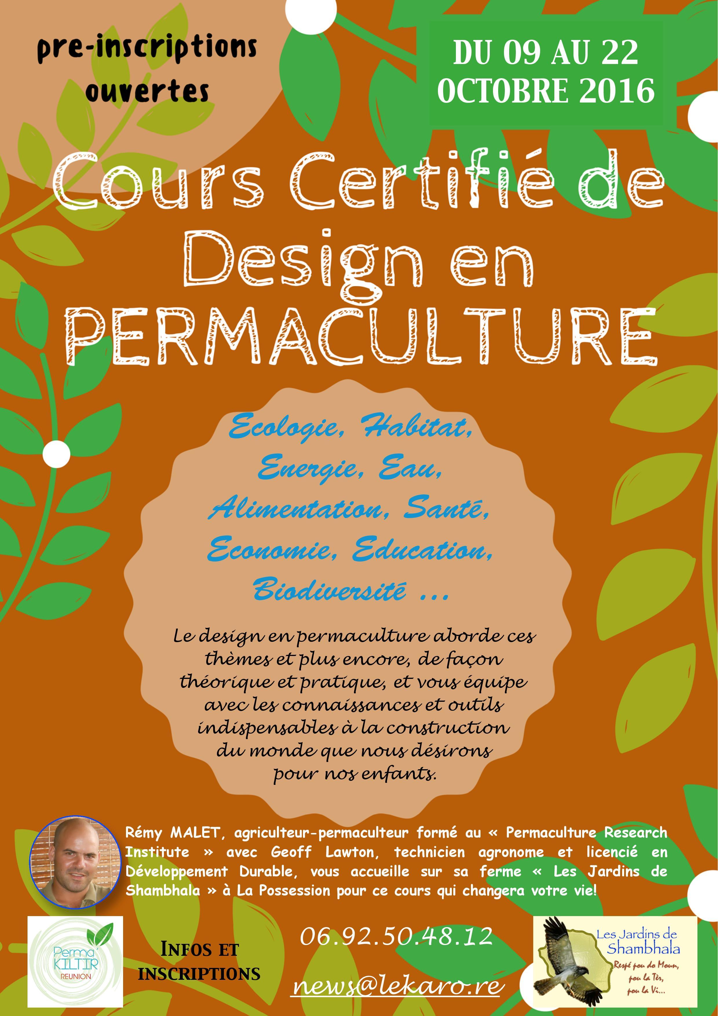 Cours de design en permaculture ecole du jardin plan taire for Cours de design