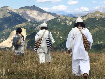 Kogis dans la Drôme sur fond de montagnes