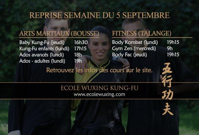 Ecole Wuxing Début des entraînements arts martiaux et fitness