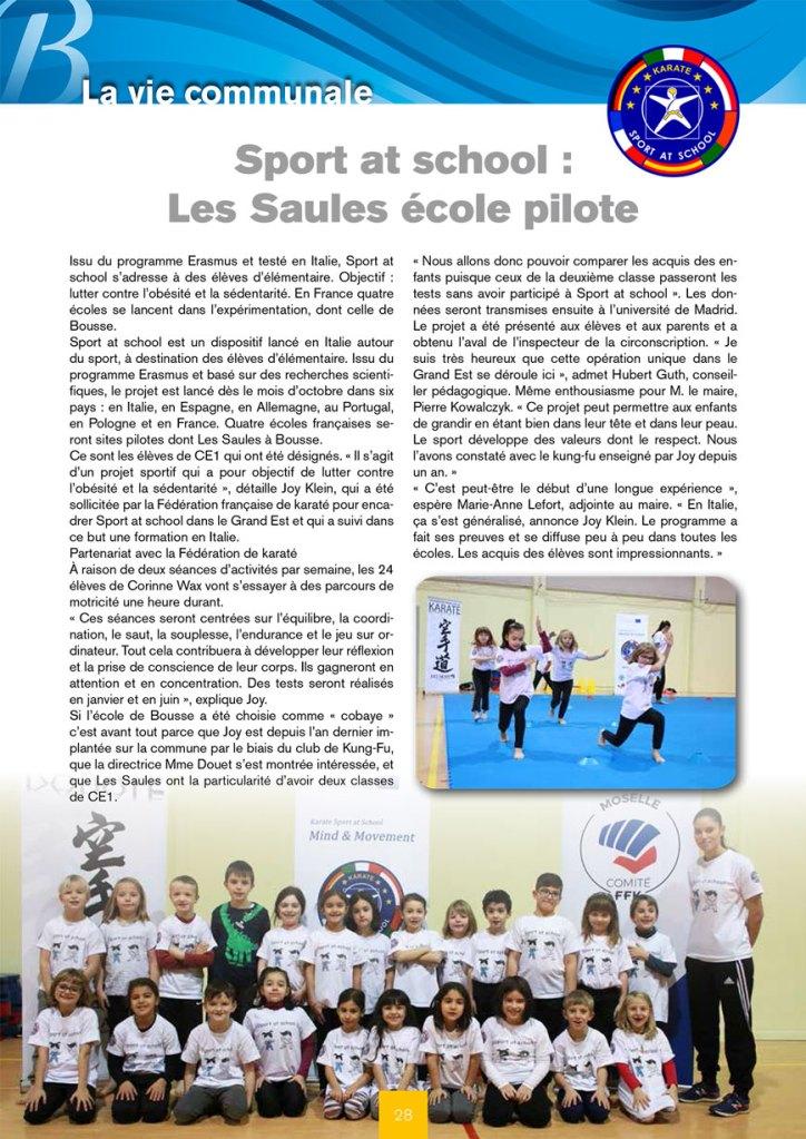 Projet Sport at School - Ecole de Bousse- Joy Klein