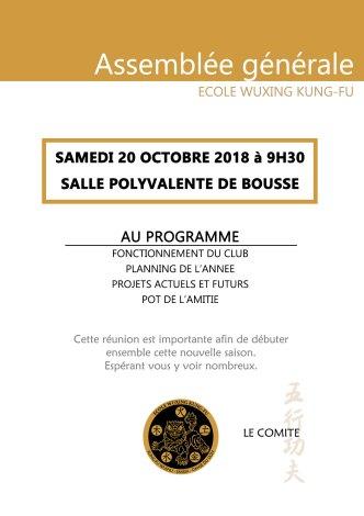 assemblée générale Ecole Wuxing Kung-Fu Bousse 2018