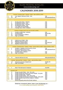 Ecole Wuxing Kung-Fu Bousse- Calendrier Provisoire 2018 - 2019