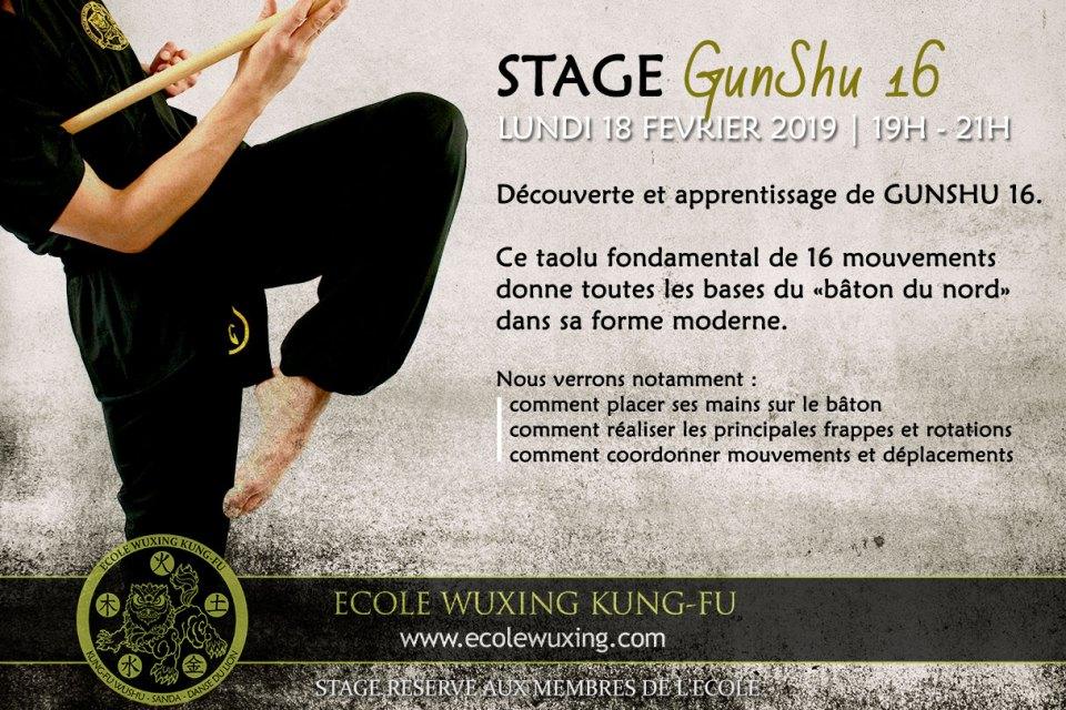 Stage GunShu 16 Baton du Nord Wushu Moderne