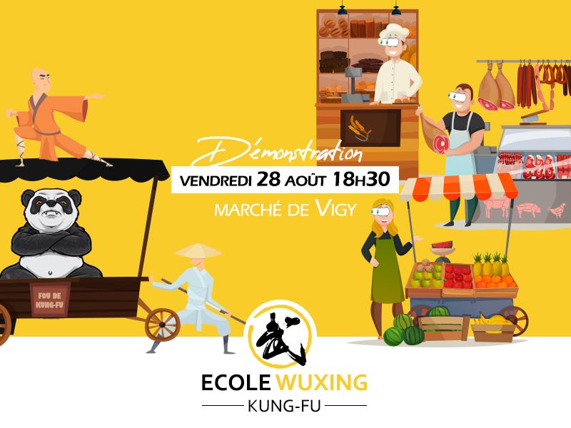démonstration marché Vigy les étals 28 août 2020 Ecole Wuxing Kung-Fu