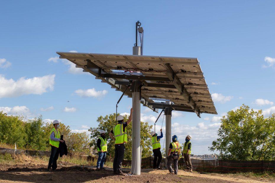 Raising solar panels at Lincoln Park Solar Garden