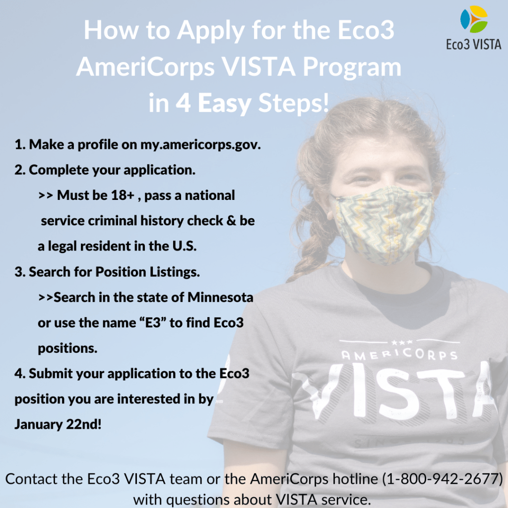 Steps to apply for Eco3 AmeriCorps VISTA Positions