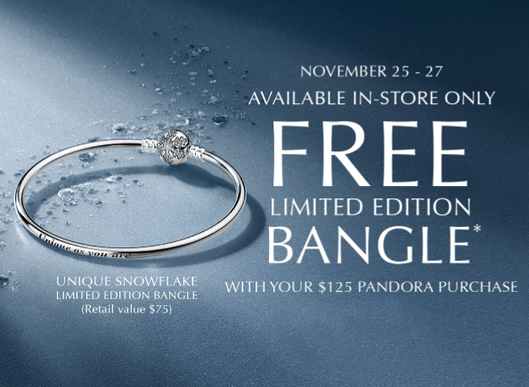 Free Limited Edition Pandora Bangle With Purchase