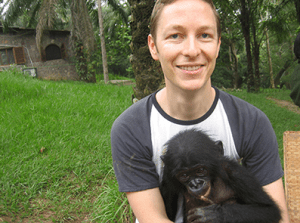 Eliot Schrefer and Oshwe at a Bonobo sanctuary outside of Kinshasa