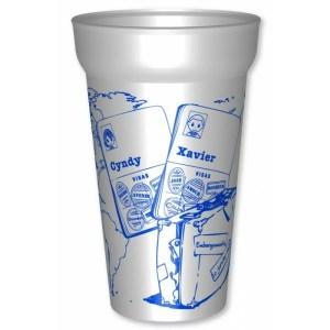 Gobelet de 25cl utile, en plastique réutilisable personnalisé pour votre mariage, sur le thème du voyage : Personnalisez