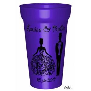 Gobelet couleur25/33clen plastique réutilisable personnalisé pour votre mariage sur le thème Princesse: Vos