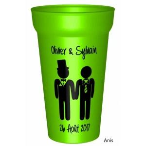 Gobelet couleuren plastique réutilisable personnalisé pour un mariage / pacs réussi : Vos prénoms et la date. - ca
