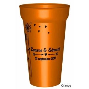Gobelet en couleur25/33clen plastique réutilisable sur un thème Pissenlit. Vos prénoms et la date sont personnalisable