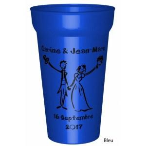 Gobelet 25/33clen couleur, fabriqué enplastique réutilisable, personnalisable avec: Vosprénoms et également la date