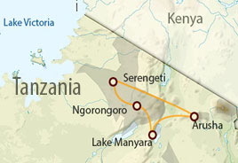 Ngorongoro safari map