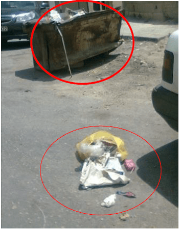 Carelessness in discarding the trash in the middle of streets in Zarqa