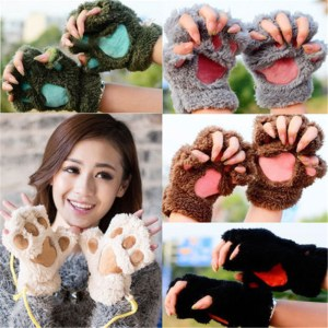 Lovely Women Cat Claw Paw Mitten Plush Glove Costume Cute Winter Warm Half Finger Valentine's Day Gift