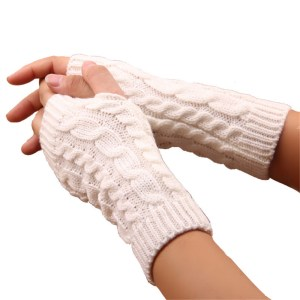 Fashion Unisex Men Women Arm Warmer Fingerless Knitted Long Gloves Cute Mittens