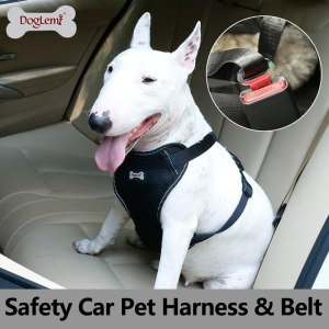 Doglemi Car Saftey Dog Harness Padded Seat Belt Vehicle Harness Adjustable Strong Pet Harness Restraint Comfortable Breathable
