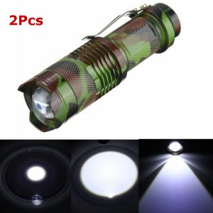 2Pcs Camouflage MECO Q5 500LM Multicolor Zoomable Mini LED Flashlight 14500/AA