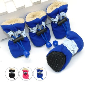 4pcs Winter Pet Dog Shoes Anti-slip Rain Snow Boots Footwear Thick Super Warm for Small Cats Dogs Puppy Dog Socks Booties