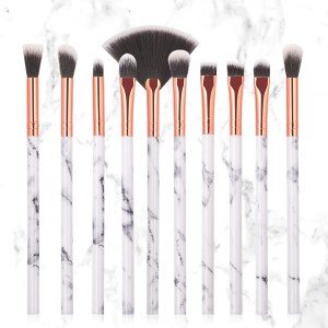 10Pcs/Set Makeup Brushes Marbling Handle Eye Shadow Eyebrow Lip Powder Foundation Make Up Brush Comestic Tools Kits