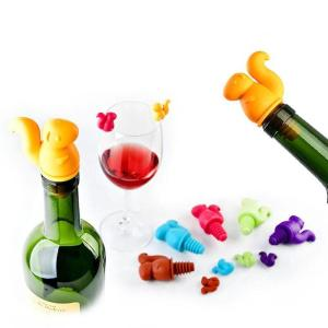 6+1pcs/set Cup Wine Plug Set Wine Glass Markers Squirrel Recognizer Labels Silicone Bottle Stopper Accessories