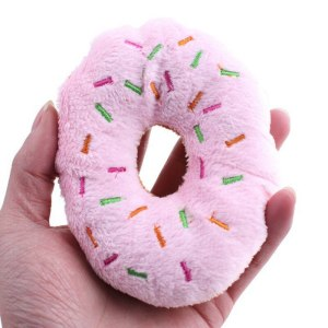 Cute & Funny Pet Products Cute Donuts Puppy Cat Squeaker Squeaky Plush Sound Toys Pet Chew Throw Toys Diameter 11cm