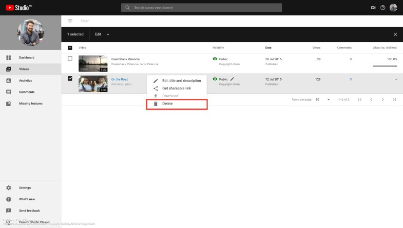 Screenshot of Channel Videos – YouTube Studio