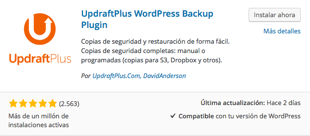 plugin updraft backup 1