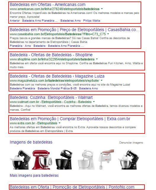 """Resultado de busca do Google para """"batedeiras"""": todos os resultados são ocupados por marketplaces."""