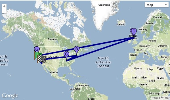 The Travels of a $100 bill from Google maps and WheresGeorge.