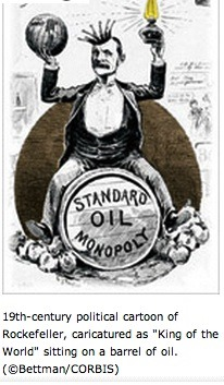 John D. Rockefeller's Standard Oil was the typical target of the 1890 Sherman Anti-Trust Act.