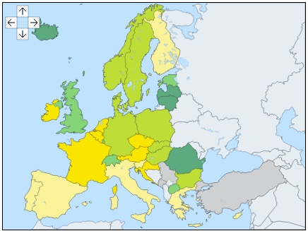 GDP growth rate EU map 2013