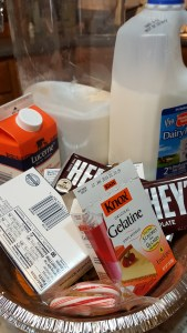 Ingredients to make candy cane cheesecake
