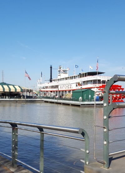 Steamboat at dock.