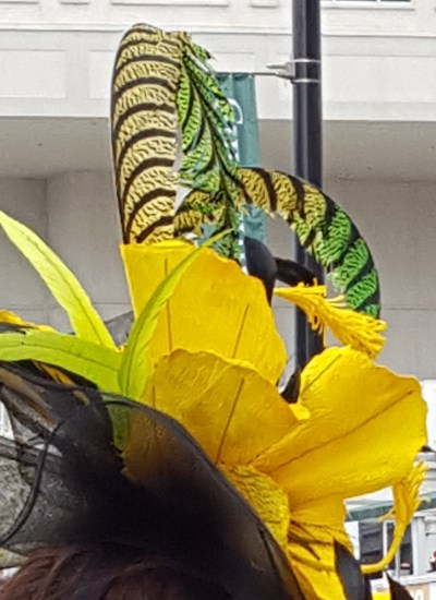 Hat with yellow flower and green feathers