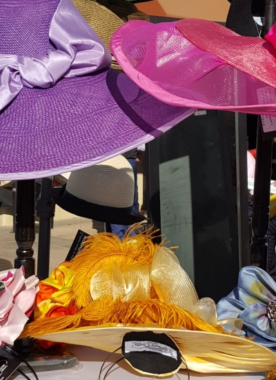 Fascinators in yellow purple and pink