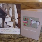 Two Christmas cards on display