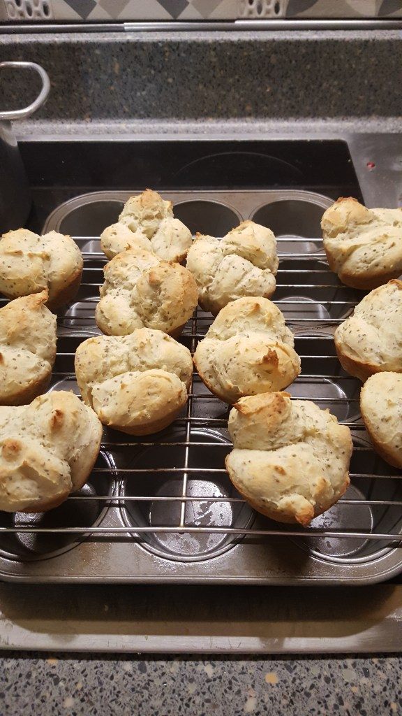 Rolls cooling on a rack.