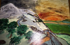 Acrylic Painting from a Mountainside down to the Plains